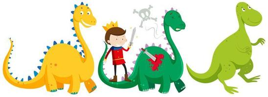 Prince fighting and killing dragons isolated vector