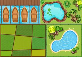Set of aerial farm and swamp scene  vector