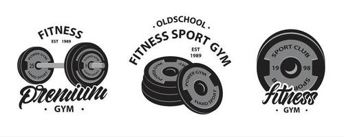 Set of Bodybuilding, Fitness Logos with Weightlifting Barbell vector