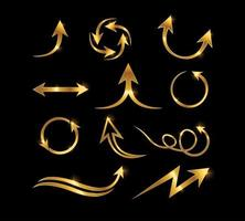 signo de vector de flecha de oro