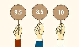tres manos sostienen tarjetas de puntuación vector