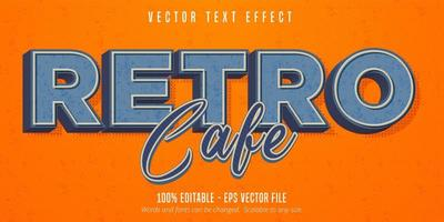 Retro cafe text, vintage style editable text effect