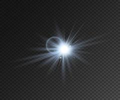 estrella de efecto de luz realista con destellos vector