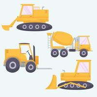 Excavator hand drawn collection vector
