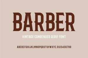 fuente serif condensada vintage vector