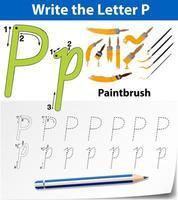 hoja de trabajo del alfabeto de trazado de la letra p vector