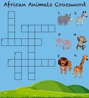 Conjunto de crucigrama de animales salvajes vector