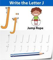 plantilla de hoja de trabajo del alfabeto de trazado de letra j vector