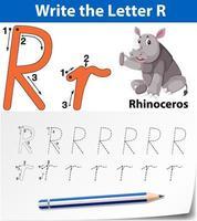 Letra r trazando la hoja de trabajo del alfabeto con rinoceronte vector