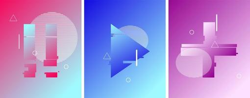 Pause, Play, Plus Button in Duotone Futuristic Style vector