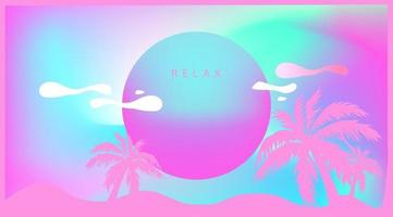 Pink Tropical Palm Tree in Retro Style