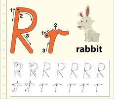 letter r tracing alfabet werkblad