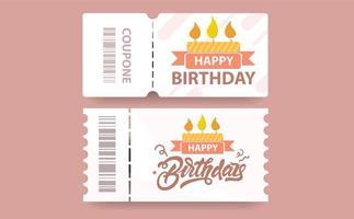 tarjeta de regalo de cupón de cumpleaños con código de cupón vector