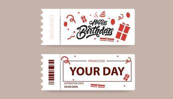 código de cupón de regalo feliz cumpleaños vector