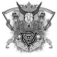 Grunge ram skull with skeletons and trinity symbol vector