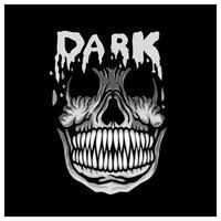Dark lettering with horror skull design vector