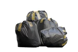 Four black garbage bags