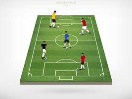 Soccer players on soccer or football field vector