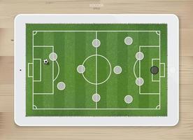 Tácticas de formación de juegos de fútbol soccer en tableta de pantalla táctil vector