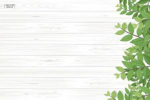 Wood texture with green leaves along right border vector