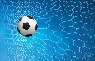 Soccer or football ball in white net on blue vector