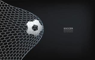 Soccer or football flying upwards in net vector