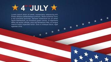 4th of July poster with angled American flags vector