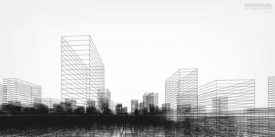 Wireframe city in perspective