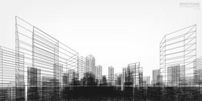 diseño rerspectivo de la ciudad de estructura de alambre vector