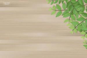 Textura de tablones de madera y hojas verdes. vector