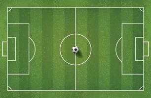 Top down view of soccer or football on field vector