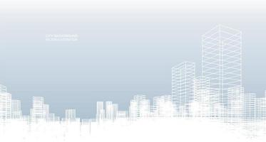 White wire frame city on blue vector