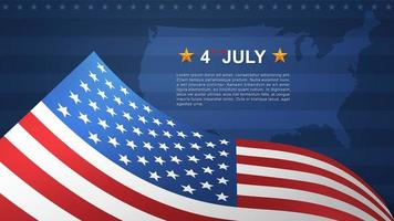 4th of July background with American flag and USA map vector