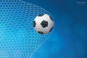 Soccer or football in net on blue bokeh vector