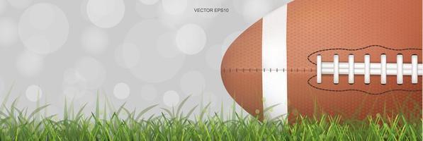 Horizontal football on green grass field vector