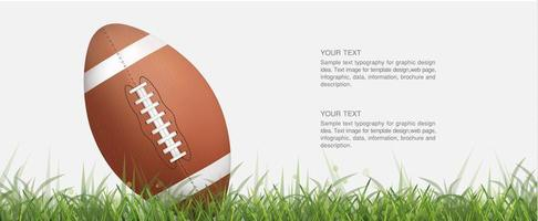 Angled football or rugby ball in green grass vector