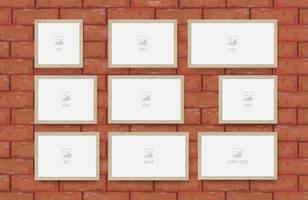 Empty photo frame set on red brick wall texture