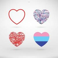 Heart signs and symbols set for Valentine's Day
