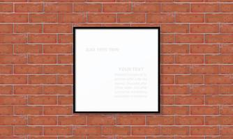 Blank photo frame or picture frame on red brick wall vector