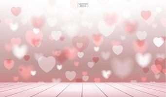 Blurred red hearts with wooden terrace for Valentine's day vector