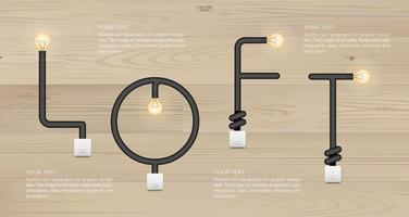 Loft in design of light bulbs and light switches vector