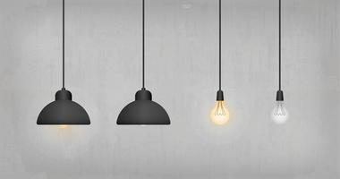 Hanging light bulbs and lamps on concrete wall vector