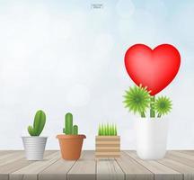Plants in pots on wooden floor vector
