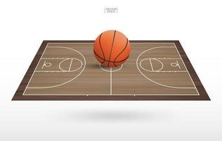 grand ballon de basket sur un terrain de basket flottant vecteur