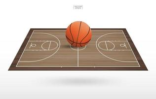 Large basketball on floating basketball court vector