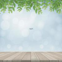 Wooden terrace with framing of green leaves vector
