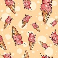 Ice cream cones with fruit and sprinkles seamless pattern
