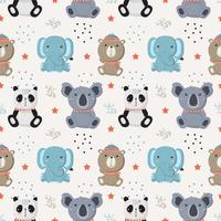Seamless pattern with baby wild animals