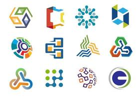 Sbstract collection of business and technology logos vector