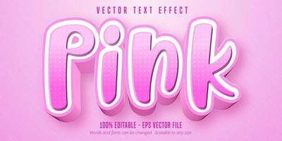Pink text, cartoon style editable text effect vector